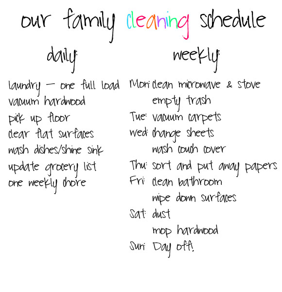 Cleaning Schedule  This Disorganized Life