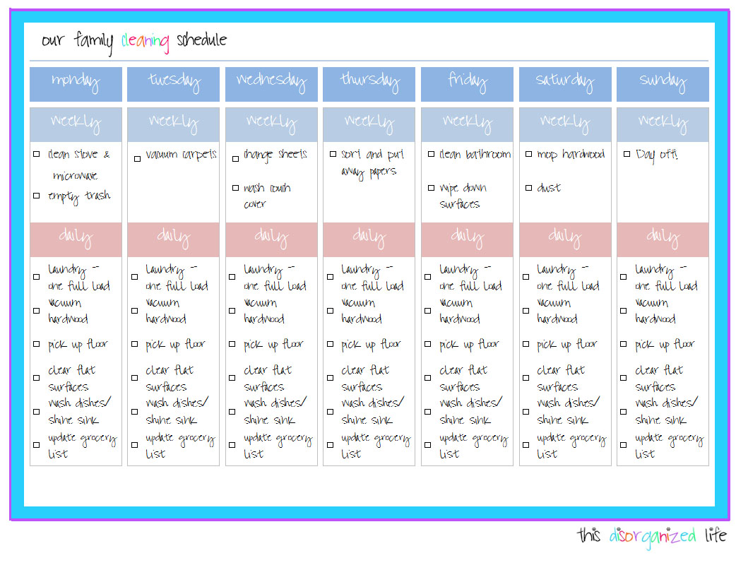 daily cleaning schedule template .