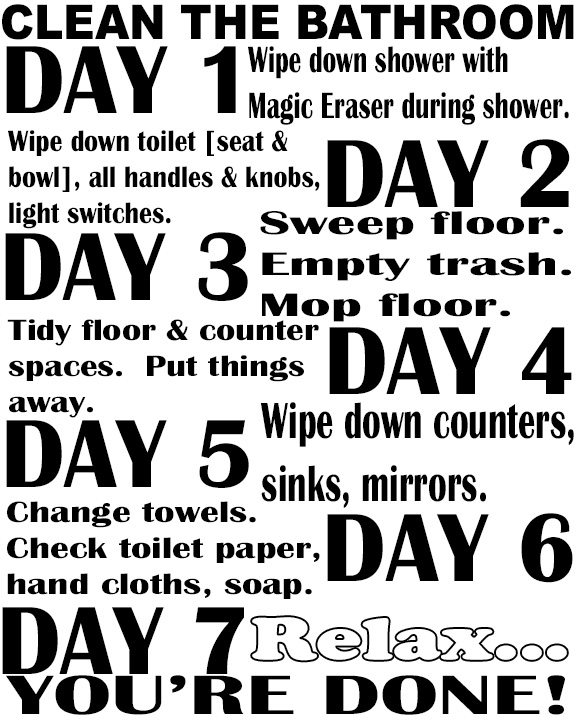 Bathroom cleaning schedule free printable this for Keep bathroom clean
